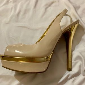 Cream and gold guess heels